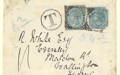 Burma Rangoon 1886 (June) envelope (some light stains) to Surrey, bearing ½a. pair tied by squa...