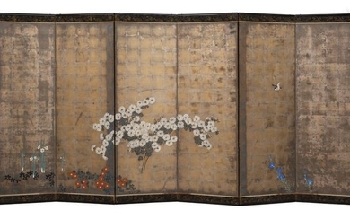 Byobu - Paper, Wood - Flowers - Beautifull 6 panel screen with a painting of various spring flowers on an oxidized silver background - Japan - Early Meiji period - 19 th century