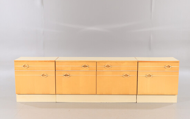 CABINET, 3 sections, wood / plastic, 1970s.