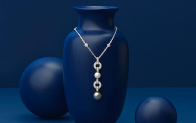 CARTIER: DIAMOND AND CULTURED PEARL PENDANT NECKLACE