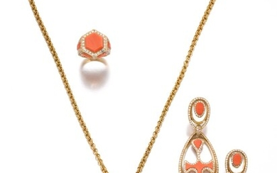 Cartier | Coral, rock crystal and diamond demi-parure and a ring, circa 1970 | 卡地亞 | 珊瑚配白水晶及鑽石首飾套裝、戒指一枚,約1970年, Cartier | Coral, rock crystal and diamond demi-parure and a ring, circa 1970 | 卡地亞 | 珊瑚配白水晶及鑽石首飾套裝、戒指一枚,約1970年