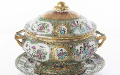 Chinese Rose Medallion Porcelain Covered Tureen
