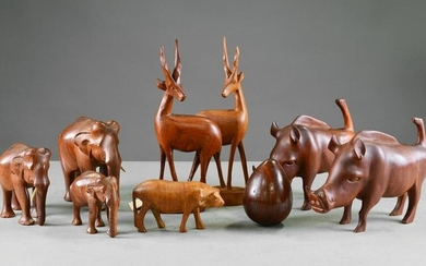 Collection of Hand Carved Wooden Animal Figures