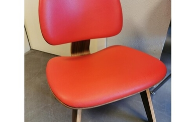 Designer Red Leather Low-Back Lounge Chair