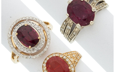 Diamond, Multi-Stone, Gold Rings The lot includes three rings:...
