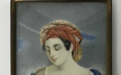 Early 19th century watercolour portrait miniature on ivory, half length depiction of a woman in turban, 8 x 6.5cm, glazed metal frame