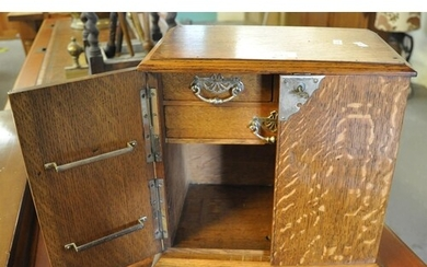 Early 20th Century oak two door blind panelled smokers cabin...