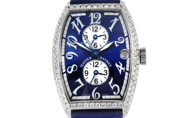 FRANCK MULLER - a mid-size stainless steel Master Banker Triple-Time wrist watch.