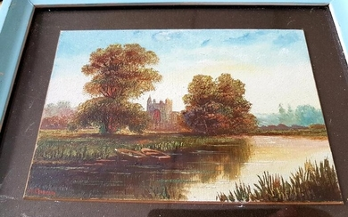 Four small pastoral oil paintings by H Church, three...