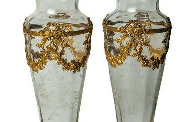 French Gilt Bronze Etched Crystal Art Glass Vases