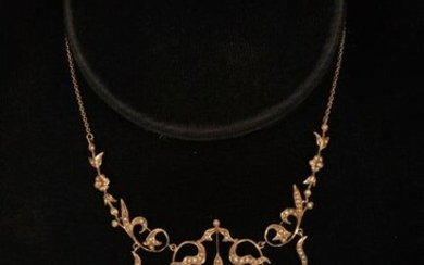 "GOLD AND SEED PEARL NECKLACE, C 1910, L 15"", T.W. 13.7"