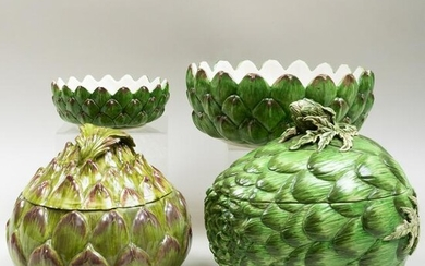Group of Four Continental Ceramic Artichoke Form