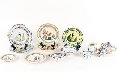 LARGE GROUPING OF HENRIOT QUIMPER FAIENCE