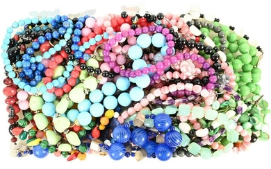 Large Group of Stone and Glass Beaded Necklaces, to