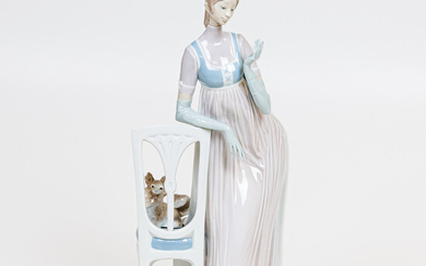 Large Lladro Figure of a Woman Leaning on a Chair