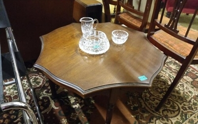 Late Victorian Mahogany Low Table on reeded legs with porcel...