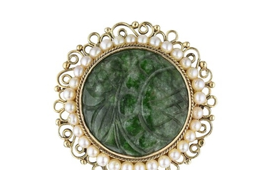 Nephrite and Seed Pearl Brooch/Pendant