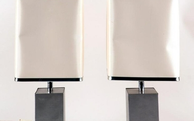 PAIR FRENCH BRUSHED STEEL TABLE LAMPS C.1970