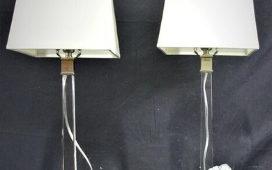PAIR OF CONTEMPORARY LUCITE CANDLESTICK LAMPS