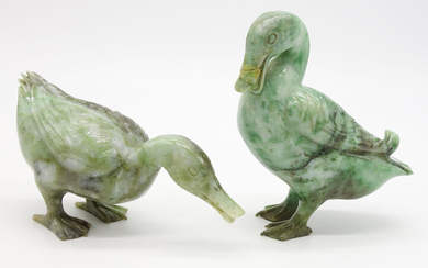 Pair Chinese Carved Jade Duck Figurines AFR3SH