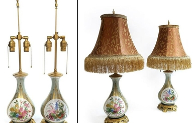 Pair Of 19th C. Hand Painted French Porcelain Lamps