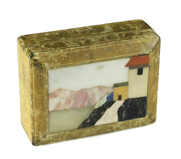 Pietra Dura Stone and Leather Wood Box. Early 20th C