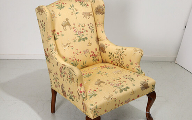 Queen Anne style wing chair, Scalamandre fabric