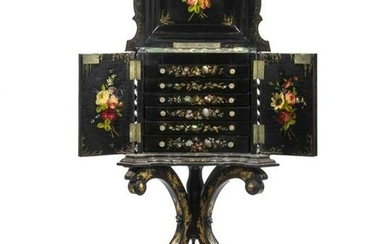 RARE ENGLISH BLACK LACQUER AND MOTHER-OF-PEARL LADY'S