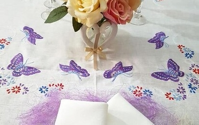 Spectacular Tablecloth x12 in pure linen with hand-stitched Butterflies embroidery - 265 x 175 cm - Linen - 21st century