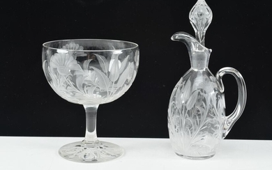 Sterling Glass Co. Cincinnati Ohio engraved compote and