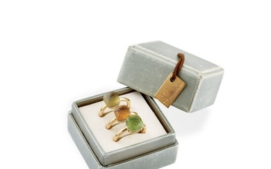 TWO QUARTZ AND GOLD RINGS AND ONE PERIDOT AND GOLD RING, POMELLATO Nudo