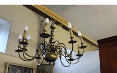 Ten Branch Dutch Metal Ceiling Light Fitting