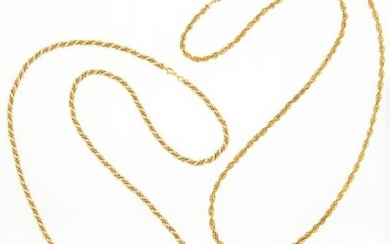 Two Two-Color Gold and Low Karat Gold Rope-Twist Necklaces