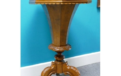 Victorian Walnut trumpet shaped sewing table: Measuring 44cm...