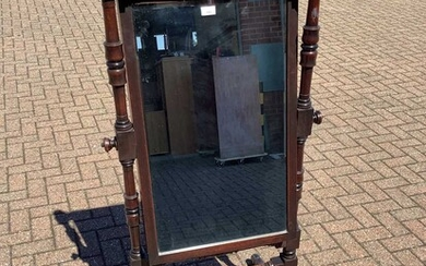 Victorian mahogany framed cheval mirror with bevelled mirror plate and turned supports on splayed legs, 61.5cm wide x 146.5cm high