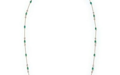 YELLOW GOLD, EMERALD AND DIAMOND NECKLACE