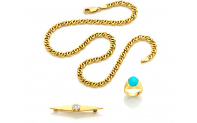 Yellow gold lot comprising a necklace of about cm 40.8 circa, a bar brooch with turquoise paste and imitations of…Read more