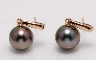 14 kt. Rose Gold - 9x10mm Round Peacock Tahitian Pearls