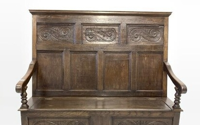 18th century and later joined oak hall settle, panelled...