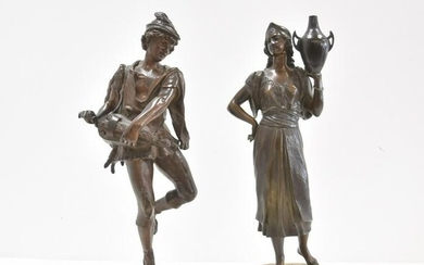 (2) FRENCH BRONZE FIGURES OF MAN & WOMAN