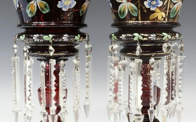 (2) VICTORIAN HAND-PAINTED GLASS MANTLE LUSTERS