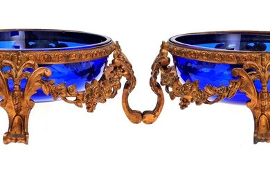 (-), 2 cobalt blue glasses with brass jardinieres,...