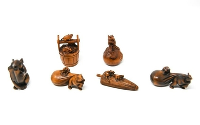 (6) JAPANESE CARVED WOOD MOUSE NETSUKES