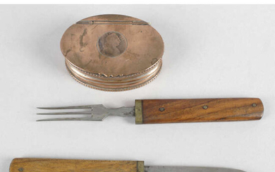 A 19th century snuff box and a wooden handled 'campaign style' knife and fork. (2).