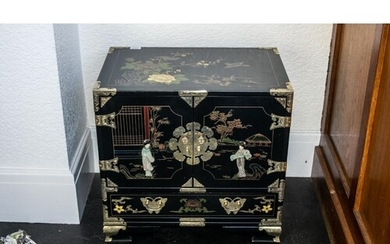A Chinese Black Lacquered Cabinet, painted floral gilt decor...