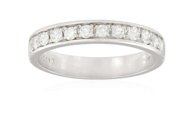 A DIAMOND HALF-ETERNITY RING The frontispiece composed of...