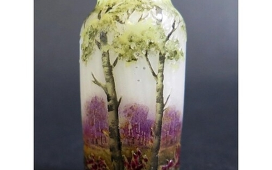A Daum Nancy Miniature Cameo Glass Vase decorated with fores...
