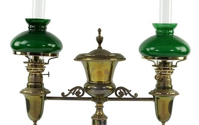 A Double Student Oil Lamp.
