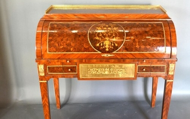 A French style marquetry inlaid and gilt metal mounted burea...