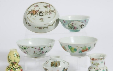 A Group of Seven Chinese Enameled Porcelain Wares, 19th